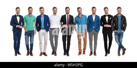 Collage image of the same happy young man wearing different clothes and posing on white studio background - Stock Photo