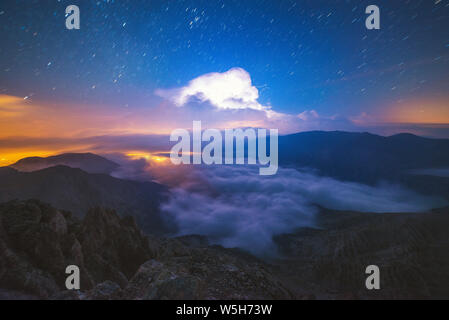 Electric storm captured from the summit of mount Olympus - Stock Photo