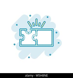 Puzzle compatible icon in comic style. Jigsaw agreement vector cartoon illustration on white isolated background. Cooperation solution business concep