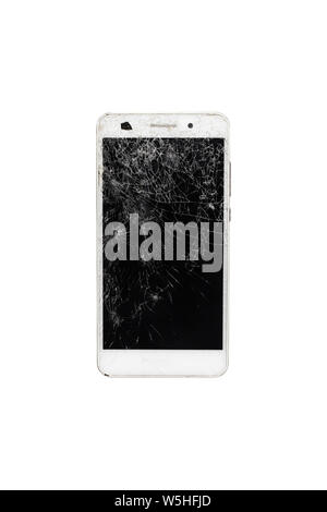 Broken smart phone with cracked screen isolated on white background. - Stock Photo