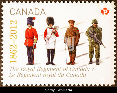 Royal regiment of Canada on postage stamp - Stock Photo