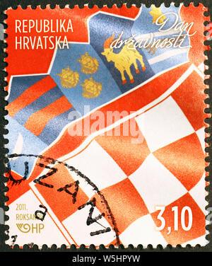 Croatian flag on postage stamp - Stock Photo