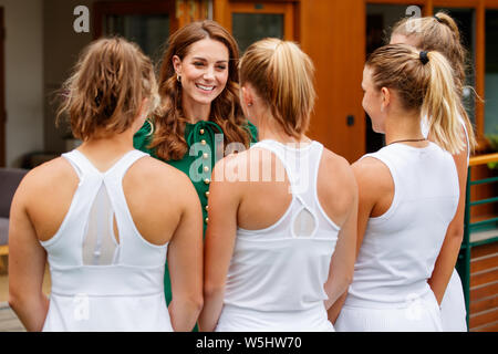 Catherine, Duchess of Cambridge aka Kate Middleton during The Championships at Wimbledon 2019. - Stock Photo