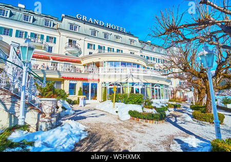 ZELL AM SEE, AUSTRIA - FEBRUARY 28, 2019: The fashionable Grand Hotel, lcated on the bank of Zeller See lake, is one of the most popular hotels in cit - Stock Photo