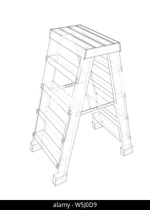 Astounding Folding Ladder Vector Line Icon Linear Concept Outline Beatyapartments Chair Design Images Beatyapartmentscom