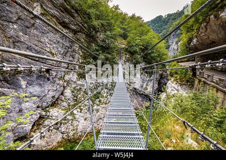 Italy Friuli  Barcis Old Road of the Val Cellina - Himalayan Bridge - Natural park of the Dolomiti Friulane