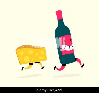 Illustration of running cheese and a bottle of wine. Vector. Characters drink and snack. Icons for the site on a light background. Sign, logo for a wi - Stock Photo