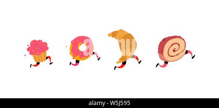Illustration of running cake, donut, croissant and roll. Vector. Icons for the site on a white background. Signs, logo for the store. Delivery of fres - Stock Photo