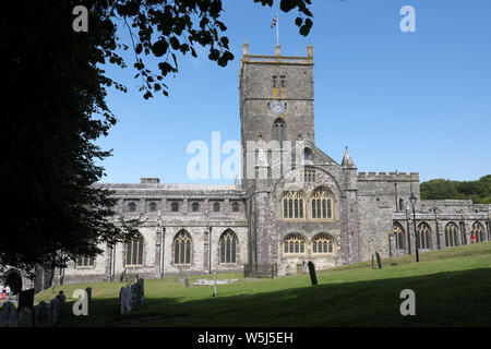 St David's Cathedral in St Davids Pemrokshire Wales summer 2019 - Stock Photo