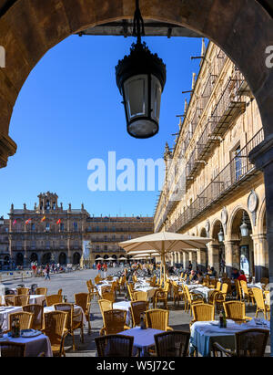 The Baroque Plaza Mayor in the center of Salamanca, Spain.