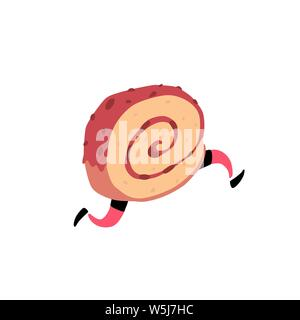 Illustration of a running roll. Vector. Sweet character with legs. Icon for site on white background. Sign, logo for the store. Delivery of fresh bake - Stock Photo
