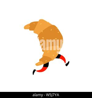 Illustration of a running croissant. Vector. Sweet character with legs. Icon for site on white background. Sign, logo for the store. Delivery of fresh - Stock Photo