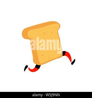 Illustration of a running toaster. Running a piece of bread. Vector. Crunchy character with legs. Icon for the site. Sign, logo for the store. Deliver - Stock Photo