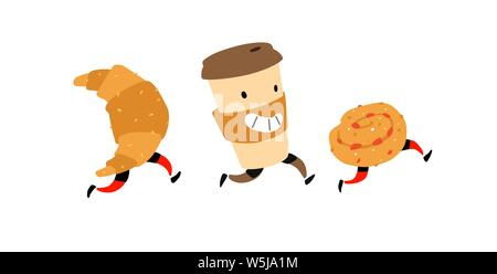 Illustration of running snacks. Vector. Characters glass of coffee, croissant, bun. Icons for the site on a white background. Sign, logo for a shop - Stock Photo
