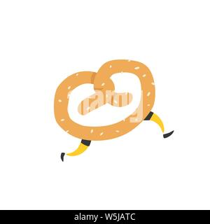 Illustration of a running bagel. Running pretzels. Vector. Crunchy character with legs. Icon for the site. Sign, logo for the store. Delivery of fresh - Stock Photo