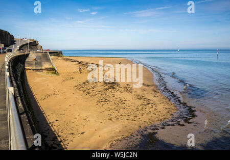 Margate Beach situated on the Fort Lower Promenade in the county of Kent in England - Stock Photo