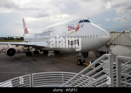 Virgin Atlantic Boeing 747-400 forever young aircraft on stand at Orlando International airport MCO terminal florida usa united states of america - Stock Photo