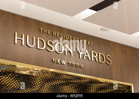 NEW YORK, USA - 17 MAY, 2019: Hudson Yards residences sign in New York Manhattan - Stock Photo