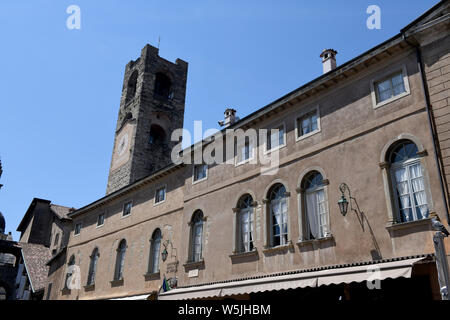 """Torre Civica bell tower or  """"Campanone"""" in Bergamo, Lombardy, Italy - Stock Photo"""