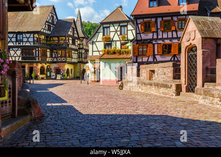 scenic old town in the historical center of Kaysersberg, Alsace, France, old town with colorful half-timbered houses and stone bridge
