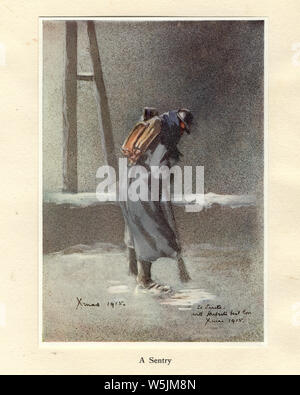 World Ward One, French soldier on sentry duty, 1915. Mr Poilu, by Herbert Ward - Stock Photo