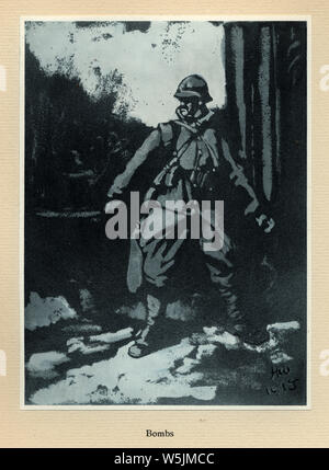 World Ward One, French soldier throwing a hand grenade, bomb, 1915. Mr Poilu, by Herbert Ward - Stock Photo