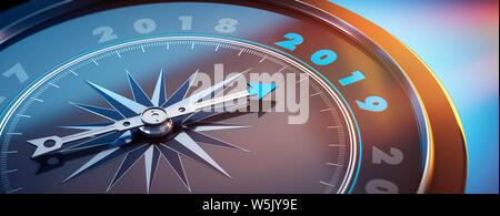 Dark compass with needle pointing to the number 2019 - 3D illustration - Stock Photo
