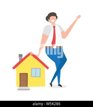 Realtor leaning on house, hand-drawn vector illustration. Colored flat style. - Stock Photo