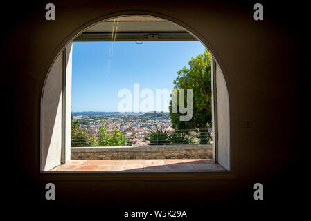 HYERES, FRANCE - JULY 28, 2019: View on the Mediterranean sea through a window of the villa Noailles, designed by the architect Mallet-Stevens, Hyeres - Stock Photo