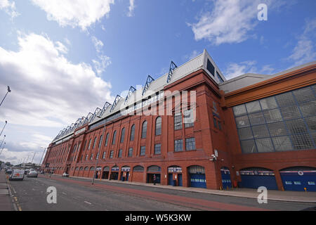 GLASGOW, SCOTLAND - JULY 18, 2019: Outside view of the venue seen ahead of the 2nd leg of the 2019/20 UEFA Europa League First Qualifying Round game between Rangers FC (Scotland) and St Joseph's FC (Gibraltar) at Ibrox Park. - Stock Photo