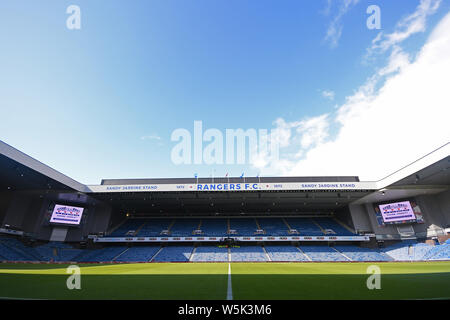 GLASGOW, SCOTLAND - JULY 18, 2019: General view of the venue seen ahead of the 2nd leg of the 2019/20 UEFA Europa League First Qualifying Round game between Rangers FC (Scotland) and St Joseph's FC (Gibraltar) at Ibrox Park. - Stock Photo