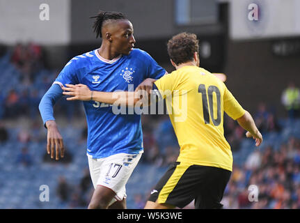 GLASGOW, SCOTLAND - JULY 18, 2019: Joe Aribo of Rangers pictured during the 2nd leg of the 2019/20 UEFA Europa League First Qualifying Round game between Rangers FC (Scotland) and St Joseph's FC (Gibraltar) at Ibrox Park. - Stock Photo