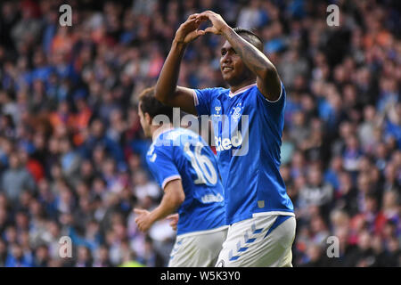 GLASGOW, SCOTLAND - JULY 18, 2019: Alfredo Morelos of Rangers celebrates after he scored his second and his team's third goal during the 2nd leg of the 2019/20 UEFA Europa League First Qualifying Round game between Rangers FC (Scotland) and St Joseph's FC (Gibraltar) at Ibrox Park. - Stock Photo