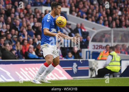 GLASGOW, SCOTLAND - JULY 18, 2019: Matt Polster of Rangers pictured during the 2nd leg of the 2019/20 UEFA Europa League First Qualifying Round game between Rangers FC (Scotland) and St Joseph's FC (Gibraltar) at Ibrox Park. - Stock Photo