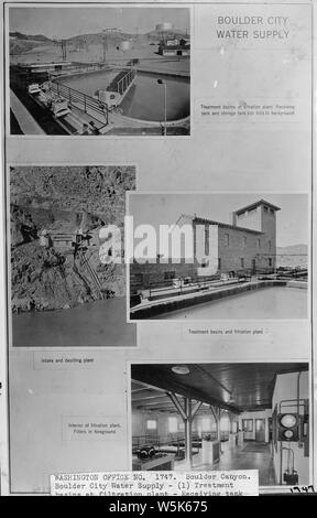 Boulder City Water Supply - (1) Treatment basins at filtration plant - Receiving tank and storage tank (on hill) in background; (2) Intake and desilting plant; (3) Treatment basins and filtration plant; (4) Interior of filtration plant - filters in background.; Scope and content:  Photograph from Volume Two of a series of photo albums documenting the construction of Hoover Dam, Boulder City, Nevada. General notes:  Compilation of four photographs showing Boulder City water supply facilities. - Stock Photo