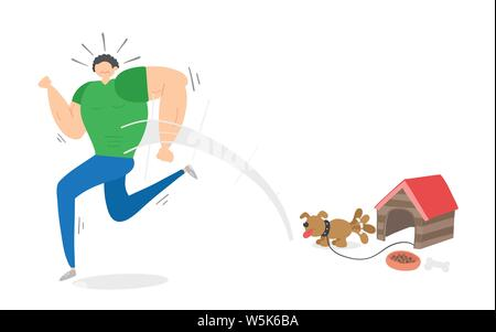 Muscular man scared of small dog and running away, hand-drawn vector illustration. Colored flat style. - Stock Photo