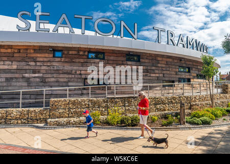 Situated in the South East Devon seaside town of Seaton, the new building for Seaton Tramway, opened in 2018, offers a small gift shop, a cafe and inf - Stock Photo