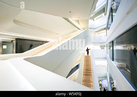 Hong Kong-15th March 2018: The interior of Polyu School of Design Jockey Club Innovation Tower in Hong Kong, a building of the HK Polytechnic Universi - Stock Photo