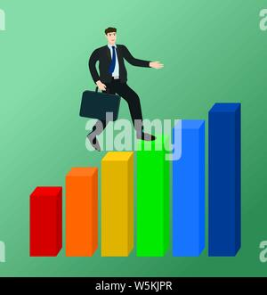 Businessman running on growth profit graph , success concept - Stock Photo