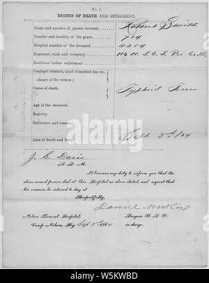Death and Interment Record for Robert Smith; Scope and content:  Rank: Private Regiment: 116 Branch: United States Colored Troops (Regulars) Unit: B Full Unit Designation: B, 116th United States Colored Troops (Regulars) Death Date: 09/03/1864 Grave Number: 0714 General notes:  Note that only a portion of this document has been digitized and made available online. - Stock Photo