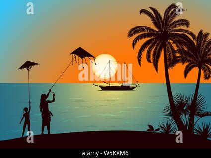 Summer Landscape, Silhouettes People, Young Women And Girl With Sky Kite On The Tropical Beach With Palm Trees, Sun In The Sky And Ship At Sea. Vector - Stock Photo
