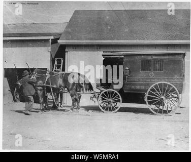 First Ambulance ,1865, US Navy Yard, Mare Island, CA - Stock Photo