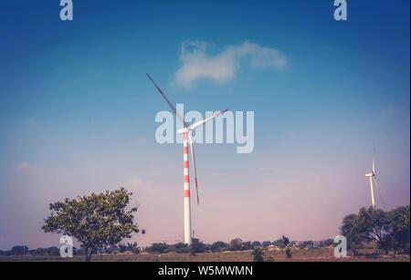 Wind Turbine Power Concept, Vintage in Colour
