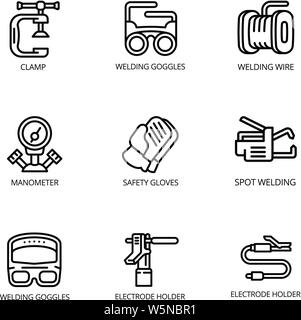 Welding icon set. Outline set of 9 welding vector icons for web design isolated on white background - Stock Photo