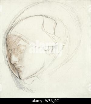 Dante Gabriel Rossetti - Found (study for head of woman). - Stock Photo