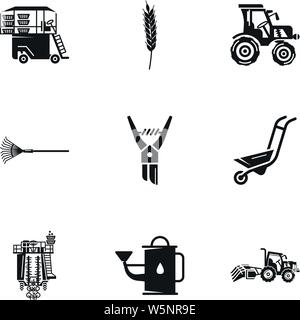 Farm tools icon set. Simple set of 9 farm tools vector icons for web design isolated on white background - Stock Photo