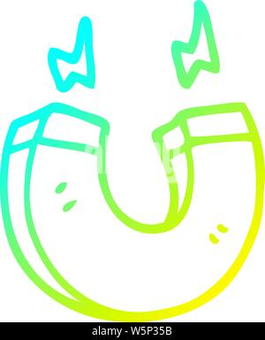 cold gradient line drawing of a cartoon magnet - Stock Photo