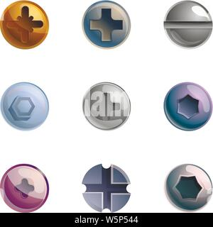 Bolt head icon set. Cartoon set of 9 bolt head vector icons for web design isolated on white background - Stock Photo