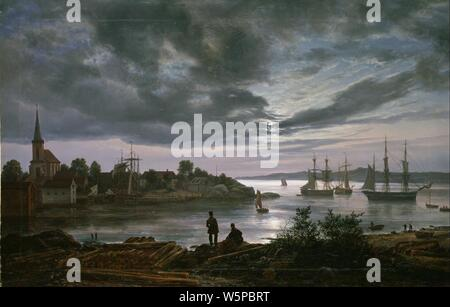 Johan Christian Dahl - Larvik by Moonlight - - Stock Photo
