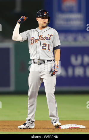 Anaheim, California, USA. July 29, 2019: Detroit Tigers left fielder JaCoby Jones (21) flexes after hitting an TBI double during the game between the Detroit Tigers and the Los Angeles Angels of Anaheim at Angel Stadium in Anaheim, CA, (Photo by Peter Joneleit, Cal Sport Media) - Stock Photo